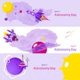 Grupo de três bandeiras no tema do dia da astronomia Imagem de Stock Royalty Free