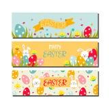 Grupo de três cartões de Páscoa horizontais Fotografia de Stock Royalty Free