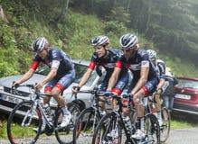 Grupo de três ciclistas - Tour de France 2014 Foto de Stock Royalty Free