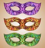 Grupo de três máscaras Venetian florais ornamentado do carnaval do vetor Foto de Stock Royalty Free