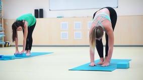 Grupo de três meninas que fazem o exercício que dobra-se para baixo no gym filme