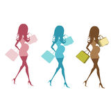Grupo de três mulheres gravidas isoladas no fundo branco Imagens de Stock Royalty Free