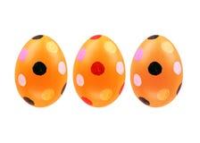 Grupo de três ovos da páscoa isolados no fundo branco para o projeto Imagem de Stock Royalty Free