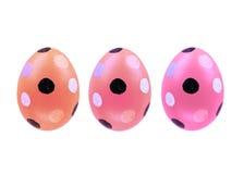 Grupo de três ovos da páscoa isolados no fundo branco para o projeto Fotos de Stock