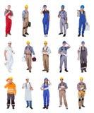 Grupo de trabajadores de construcción fotos de archivo