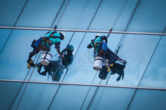 Grupo de trabajadores que limpian servicio de las ventanas en el alto edificio de la subida imagenes de archivo