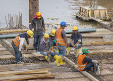 Grupo de trabalhadores da construção em Guayaquil Equador Foto de Stock
