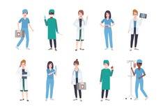 Grupo de trabalhadores médicos fêmeas O pacote de médicos das mulheres vestidos nos revestimentos brancos e esfrega - doutor ou m ilustração stock