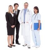Grupo de trabalhadores no fundo branco fotografia de stock royalty free