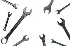 Grupo de trabalho isolado chave do metal do fundo branco de ferramentas do reparo Imagem de Stock Royalty Free