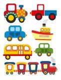 Grupo de transporte dos desenhos animados Fotografia de Stock Royalty Free