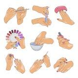 Grupo de tratamento de mãos, cuidado da unha e cosméticos fêmeas ilustração royalty free