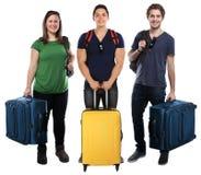 Grupo de trave do curso do saco da bagagem dos feriados das férias dos jovens fotos de stock