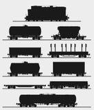Grupo de trem com vagões do frete ilustração stock