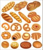 Grupo de trigo de pão no branco Imagem de Stock