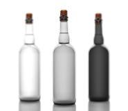 Grupo de tubo das garrafas cinzentas, de vidro c, isolado no fundo branco Fotografia de Stock