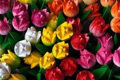 Grupo de tulipanes de madera coloridos Imágenes de archivo libres de regalías
