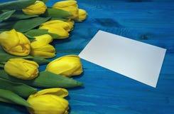 Grupo de tulipas amarelas com o cartão de papel vazio Fotos de Stock Royalty Free