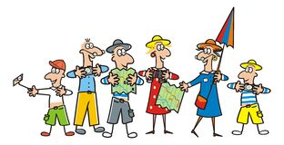 Grupo de turista, guía stock de ilustración