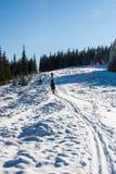 Grupo de turistas en la colina nevada imágenes de archivo libres de regalías