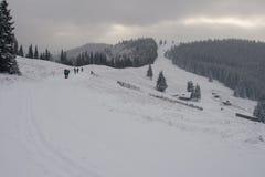 Grupo de turistas en la nieve imagenes de archivo