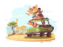 Grupo de turistas en safari libre illustration