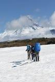 Grupo de turistas que suben el campo de nieve en los volcanes del fondo Imágenes de archivo libres de regalías