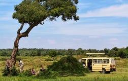Grupo de turistas que tienen hora de la almuerzo debajo de árbol fotos de archivo