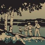 Grupo de turistas que van en un viaje libre illustration