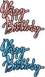 Grupo de um feliz aniversario de 2 frases, texto caligráfico no rosa Imagens de Stock