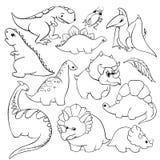 Grupo de um tiranossauro amável engraçado de doze dinossauros dos desenhos animados do ` s das crianças dos elementos, pterodátil ilustração royalty free