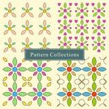 Grupo de um vetor colorido de 4 testes padrões de flor imagens de stock