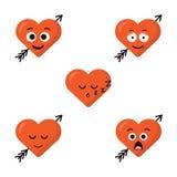 Grupo de uma expressão de cinco corações Emoticons do personagem de banda desenhada ilustração royalty free