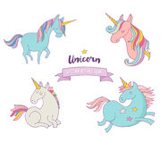 Grupo de unicons mágicos - mão bonito ícones tirados ilustração stock