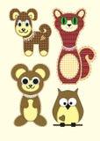 Grupo de urso de peluche bonito dos desenhos animados, de gato, de cão, de coruja no projeto liso para o cartão, de convite e de  Imagens de Stock Royalty Free