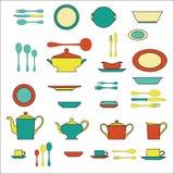 Grupo de utensílio da cozinha e coleção da ilustração dos utensílios de mesa Fotos de Stock