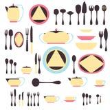 Grupo de utensílio da cozinha e coleção da ilustração dos utensílios de mesa Imagens de Stock Royalty Free