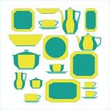Grupo de utensílio da cozinha e coleção da ilustração dos utensílios de mesa Fotografia de Stock Royalty Free