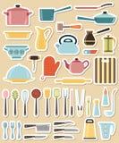 Grupo de utensílio da cozinha e coleção do cookware Imagem de Stock