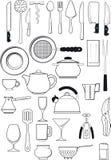 Grupo de utensílios da cozinha Imagem de Stock