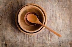 Grupo de utensílios de madeira Imagem de Stock Royalty Free
