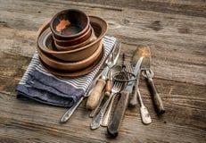 Grupo de utensílios marrons finos rústicos Imagens de Stock
