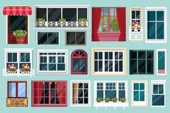 Grupo de várias janelas coloridas detalhadas com soleiras, cortinas, flores, balcões Estilo liso Imagens de Stock Royalty Free