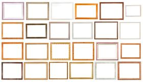 Grupo de várias molduras para retrato de madeira isoladas Imagens de Stock