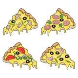 Grupo de várias partes da pizza ilustração stock