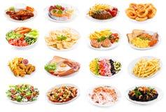 Grupo de várias placas do alimento fotografia de stock royalty free