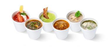 Grupo de várias sopas do restaurante, isolado no branco Foto de Stock Royalty Free