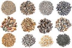 Grupo de várias texturas dos cascalhos e dos seixos Foto de Stock Royalty Free