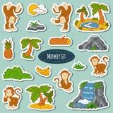 Grupo de vário macaco bonito, etiquetas do vetor dos animais Imagens de Stock Royalty Free