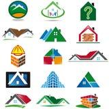 Grupo de vários ícones da casa Fotos de Stock Royalty Free